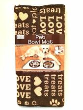 Pet Bowl Mat Dogs Cats Absorbent Microfiber Brown Tan Love Hearts 20 in Long