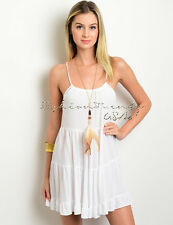 Ivory BOHO TIERED Loose Sun DRESS Cover Up Babydoll Gauze Beach Backless Tunic M