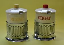 Vintage Mid-Century Ceramic Mustard and Ketchup Dispensers Jars rom Japan