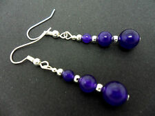 A PAIR OF PURPLE AMETHYST JADE  SILVER PLATED EARRINGS. NEW.
