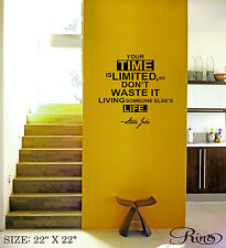 Steve Jobs Your time is LIMITED Wall Vinyl Decal sticker Famous quote biography