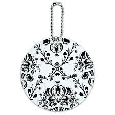 Damask Elegant Black White Round Luggage ID Tag Card Suitcase Carry-On