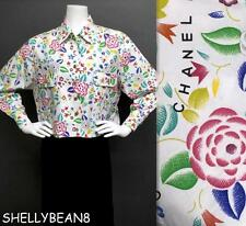AUTH CHANEL Logo CAMELLIA Top Blouse Shirt BOXY CROPPED OSFM M L XL Chest 46""