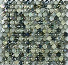 ASLG-22  WILD GRAY Rounds Glass Mosaic Tile for Kitchen Backsplash Spa