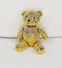 Vintage NAPIER Figural TEDDY BEAR PIN Jointed Articulated Green Rhinestone Eyes