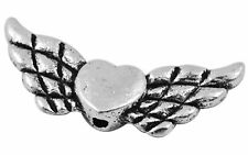 10 x 22mm Tibetan Silver Wing Heart Metal Spacer Beads