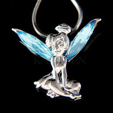 w Swarovski Crystal Aqua Blue Fairy Tinkerbell Tinker Bell ANGEL Charm Necklace