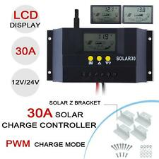 30A LCD Solar Panel Charger Controller 12V 24V Auto Switch+4x Metal Z Bracket AD