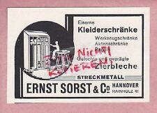 HANNOVER, Werbung 1930, Ernst Sorst & Co. Kleiderschränke Zierbleche