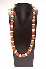 Vintage Amber Phenolic Resin Bakelite Catelin & Oyster Beads Necklace 23""