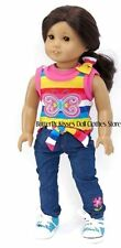 Butterfly Denim Pant Set Doll Clothes Made For 18 in American Girl Lea