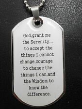 1pcs English Serenity Prayer Beble Stainless Steel Pendant Necklace, With Chain