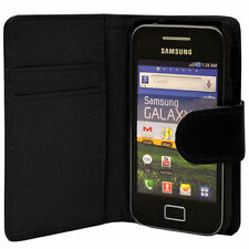 BLACK WALLET Plain caso withcard SLOT PER SAMSUNG GALAXY ACE GT-S5830 / GT-S5830I