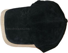 New 2 Tone Suede Leather cap Baseball cap leather hat Black/Beige Brand nes WT