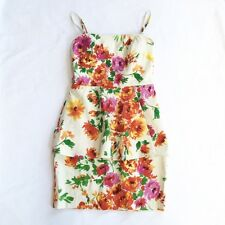 BETSEY JOHNSON $138 Vibrant Floral Smocked Peplum Structured Dress Size 12