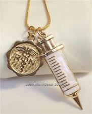 Gold RN Nursing Necklace Caduceus Syringe Nurse Graduation Gift Box USA Seller