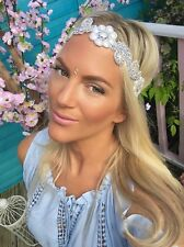 Silver Diamond Flower Ivory Pearl Hair Head Band Choochie Choo Hippy Bohemian