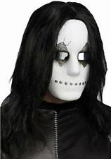 White Industrial Freaky Face Mask with Long Black Hair