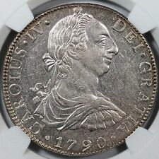 "1790MO KM-108 NGC UNC Details ""CAROLUS IV"" Charles Bust III Mexico 8 Reales"