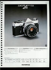 Factory 1978 Olympus Zuiko 24mm F2.8 Camera Lens Dealer Data Sheet Page