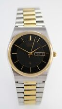 Citizen Mens Black Stainless Silver Gold Steel Day Date Battery Quartz Watch-2