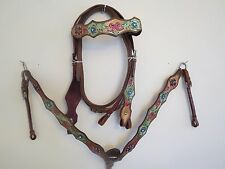 NEW LEATHER WESTERN HEADSTALL BRIDLE BREAST COLLAR TACK SET GRNPNKLEAF
