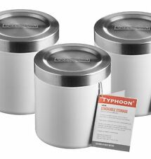 3 x Typhoon HUDSON White TEA COFFEE SUGAR Storage TINS Stacking FOOD Tins