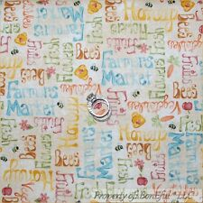 BonEful FABRIC FQ Cotton Quilt Bee Hive Honey S Country Fruit Veggie Farm Market