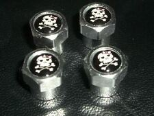 GIRLY PIRATE SKULL & CROSBONES CAR TYRE VALVE CAPS