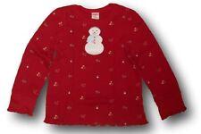 Maglia cotone top rosso Natale invern pupazzo neve GYMBOREE bimba bambina 5 anni