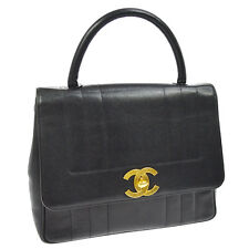 Auth CHANEL Quilted CC Jumbo XL Hand Bag Black Caviar Skin Leather VTG AK13078