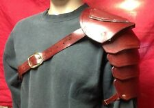Leather Single Shoulder Armor SCA Faire Pirate Medieval Celtic Viking - Bordeaux