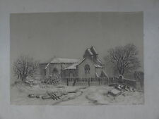 RARE DESSIN XIX° PAYSAGE EGLISE CAMPAGNE NEIGE DRAWING CHURCH LANDSCAPE 1866