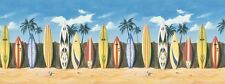 Surfboards Against the Fence on Beach Wallpaper Border 144B03744