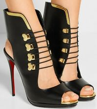 CHRISTIAN LOUBOUTIN TROUBIDA LACE FRONT BLACK LEATHER OPEN TOE SHOES BOOTIES 39