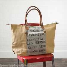 GRENIAR WIDE CANVAS & LEATHER TOTE BAG RECYCLED PURSE UPCYCLED