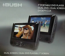 "BUSH 8791 7"" LCD Twin Dual 2 Screen portable car battery DVD USB Player C75"
