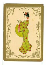 "Single Vintage Old Wide Playing Card, ""Oriental Lady"" Gold Border"