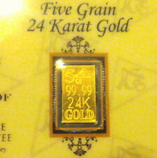 Acb Best 24k Gold Bullion Minted 5Grain Bar 99.99 Fine With Certificate
