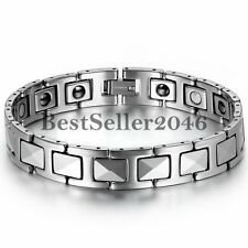 Tungsten Carbide Biker Men Powerful Health Magnetic Bracelet Link Wristband 8""