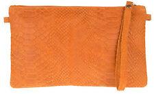 New Genuine Italian Suede Snake Clutch Bag Womens Handbag Pouch Wristlet Evening