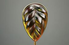 Lalique Heliconia Amber Leaf Hat Lapel Stick Pin Brooch