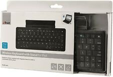NEW TRUST COMPACT WIRELESS BLUETOOTH UK KEYBOARD & STAND FOR IPAD IPAD2 NEW IPAD