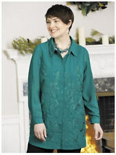 6X 36/38 NWT ULLA POPKEN PAMELA'S PORTRAIT EMBROIERED BLOUSE PEACOCK GREEN  $79