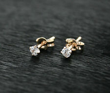 585/14ct Russian Rose Gold Womens and Kids 3mm White Cz Stud Earrings Gift Boxed