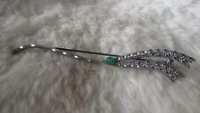 Vintage Silvertone Marcasite Illusion Effect Green Chalcedony Wave Brooch