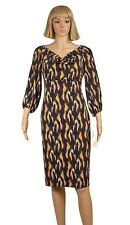 Evan Picone Size 6 Black Yellow Ikat Print Cowl Drape Neck Empire Waist Dress