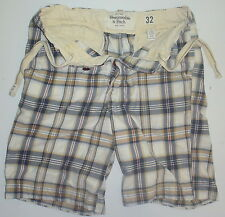 Mens 32 Actual 35 Abercrombie & Fitch Button Fly Drawstring Plaid Casual Shorts