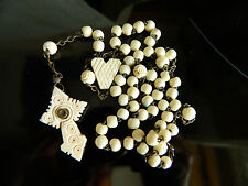 ANTIQUE LOURDES ROSARY CARVED COW BONE W STANHOPE & HEART CONNECTOR