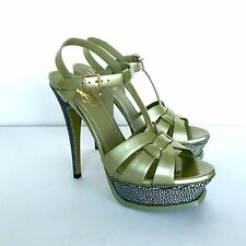 YSL OLIVE GREEN STINGRAY PATENT LEATHER TRIBUTE SANDAL SHOES 105 NEW 38.5 US 8.5